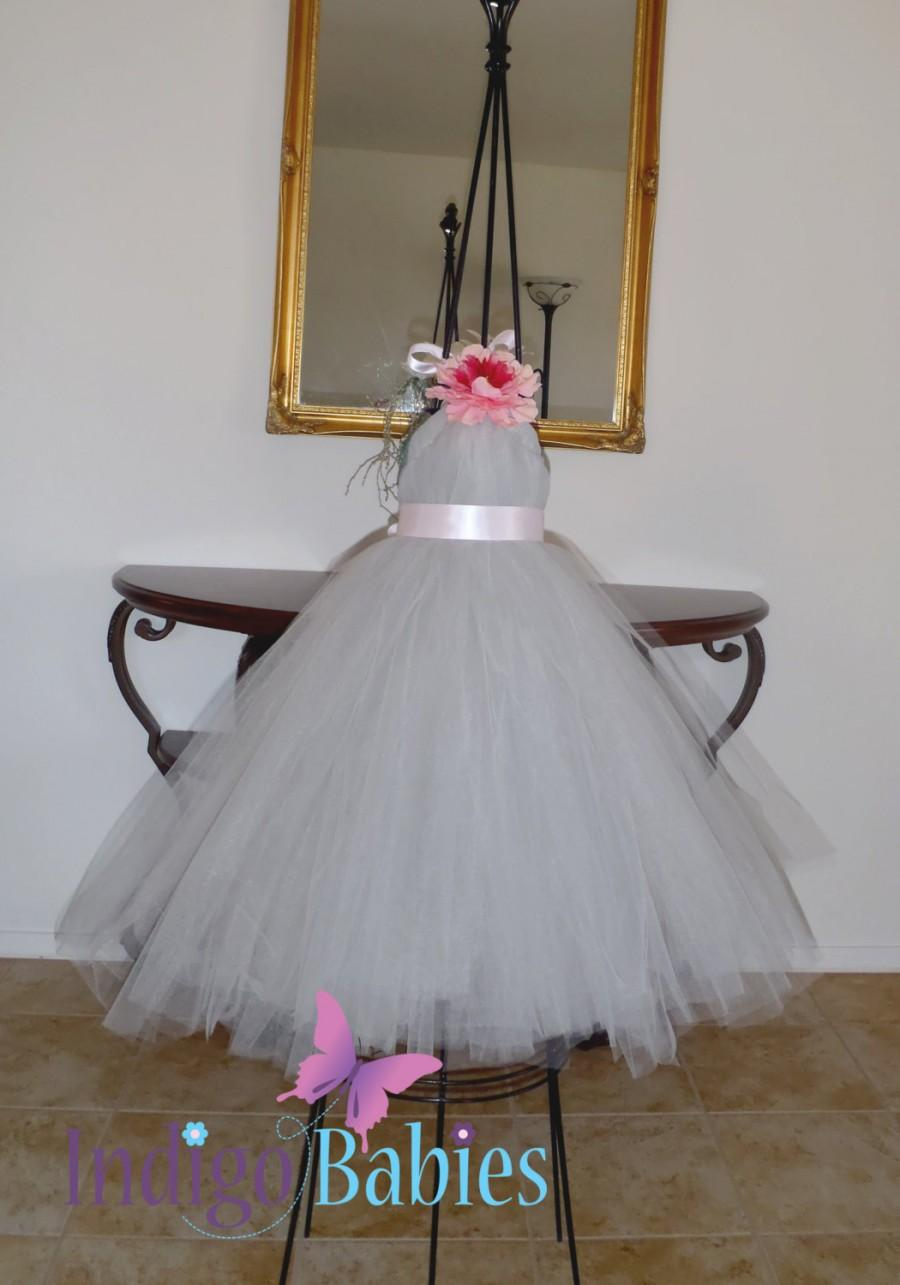 Tutu dresses tutu dress flower girl dresssilver gray tulle light tutu dresses tutu dress flower girl dresssilver gray tulle light pink ribbon pink flower formal dresses portrait dress wedding mightylinksfo