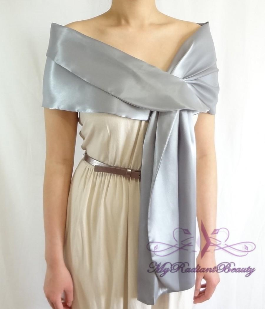 Satin Bridal Wrap Stole, Grey Silk Satin Evening Wrap Stole, Silk ...