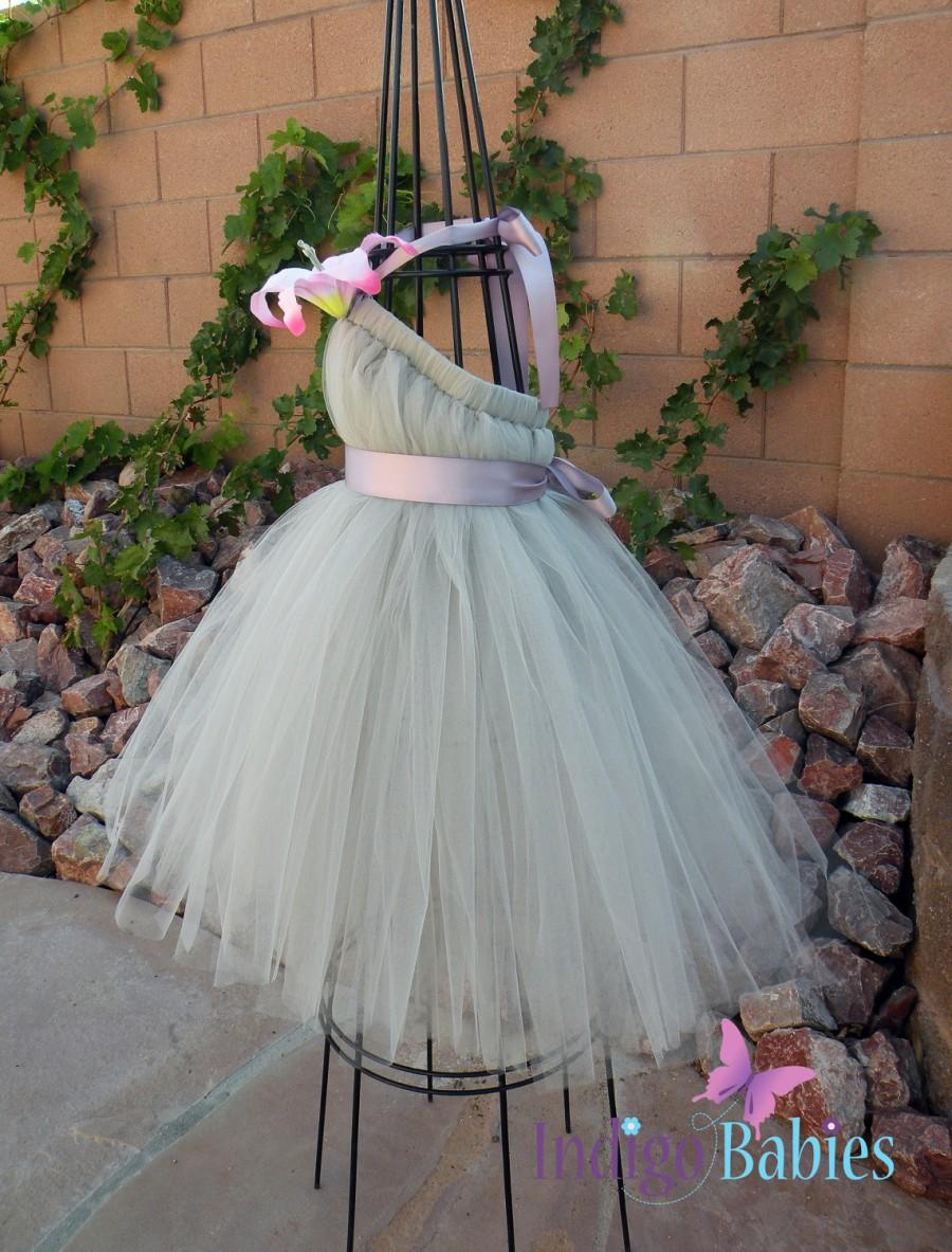 Tutu dress flower girl dress silver tulle lavender ribbon pink tutu dress flower girl dress silver tulle lavender ribbon pink lily fabric flower portrait dress wedding flowergirl dress mightylinksfo