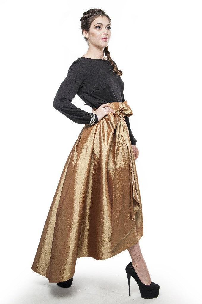Evening Asymmetrical Skirt Gold. Long Skirt Bridesmaid Formal Prom ...