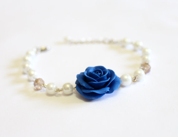 Mariage - Royal Blue Rose and Pearls Bracelet, Bracelet , Blue Bridesmaid Jewelry, Rose Jewelry, Summer Jewelry, Bridal Flowers, Bridesmaid Bracelet