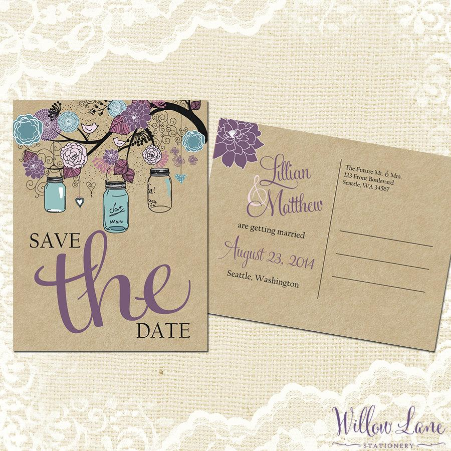Save The Date Postcard Vintage Mason Jar Card Purple And Blue Rustic Barn Wedding 4002 Printable