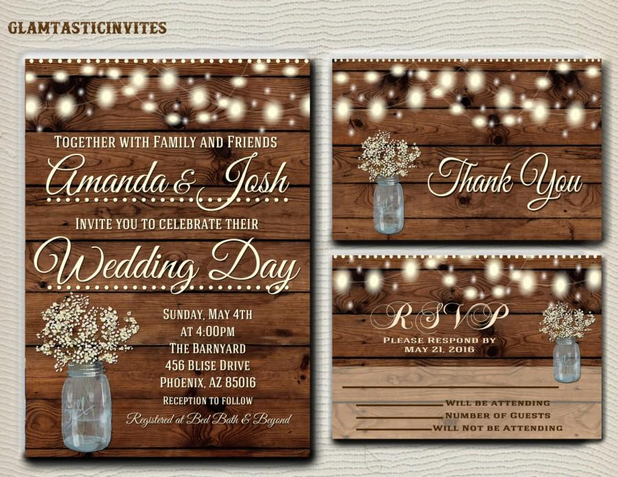 Wedding - Rustic Wedding Invitation Printable, Country Wedding Invitation, Digital file, Printable, wedding invitation suite, Mason Jar Wedding