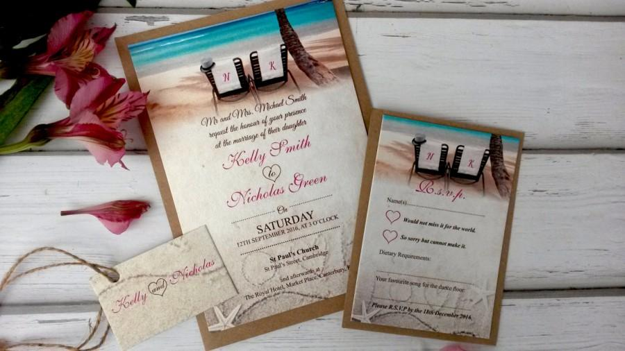 Beach Themed Wedding Invitations Personalised With Twine Rsvp Card