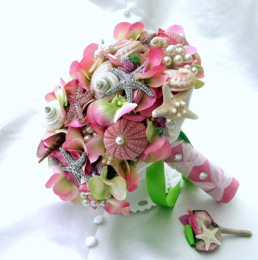 Свадьба - Lilly Pulitzer inspired Sea Shell Bouquet, Sea Shell bouquet, wedding bouquet, pink bouquets