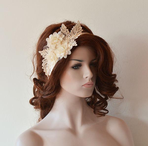 Wedding - Wedding  Headband,  Champagne Lace Vintage İnspired Headband, Rustic Bridal Headband, Bridal Accessories, Wedding Accessories