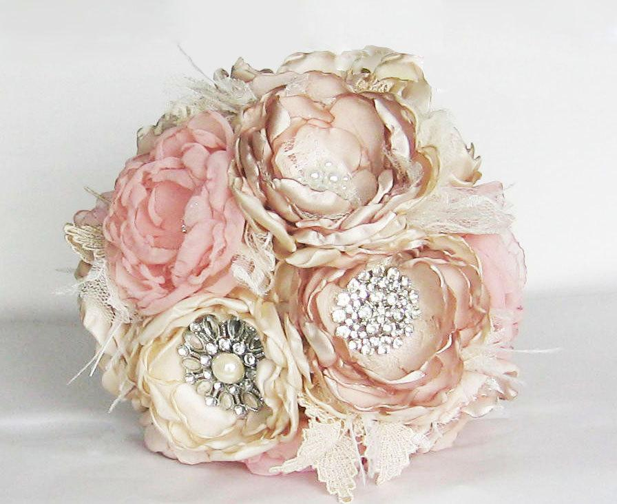 Свадьба - Fabric flower brooch bouquet . Vintage Wedding . Ostrich feather trim . Pink ivory champagne peony roses in ANY COLOR