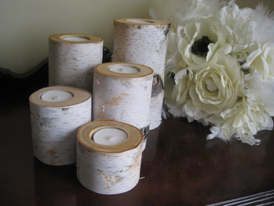 "Свадьба - Birch  Tea Light  Candle Holders Set of 5- 6"",5"",4"",3"" and 2""  for your Wedding  Centerpieces Home Decor Bridal Shower"