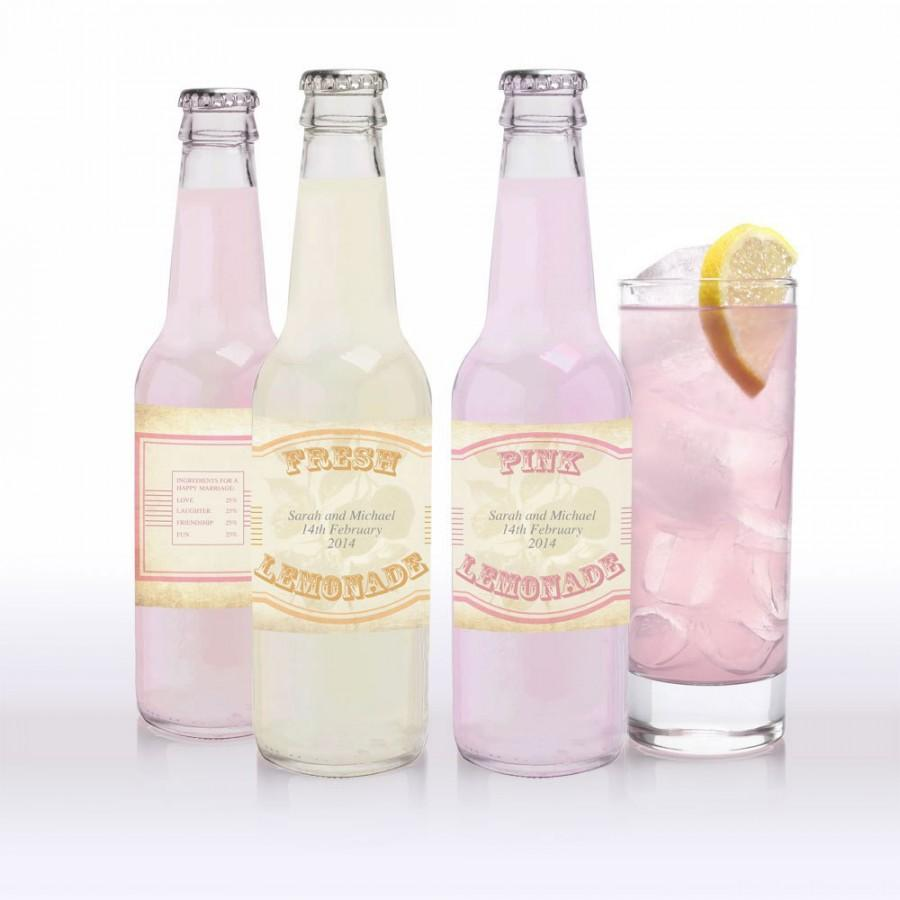 Свадьба - vintage lemonade, pink lemonade and limeade labels - printable editable file
