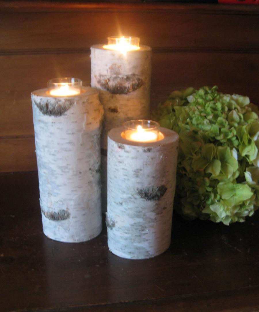 "Свадьба - 10"",8"",6"" Beautiful Birch Votive Candleholders  Wedding Centerpieces, Bridal Showers, Garden Party Candles"