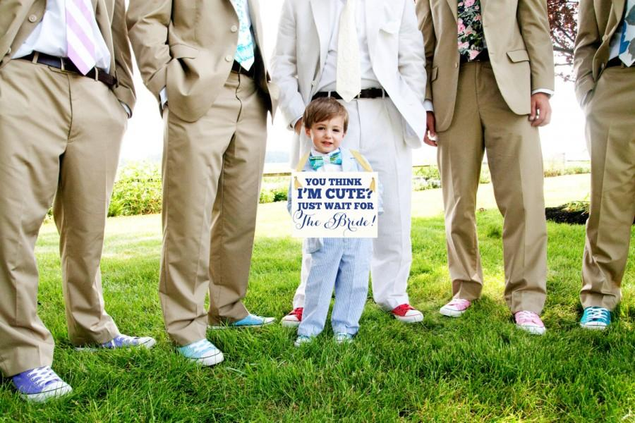 "Свадьба - Wedding Sign Cute Niece / Nephew ""You Think I'm Cute? Just Wait for The Bride"" Flower Girl Ring Bearer Banner"