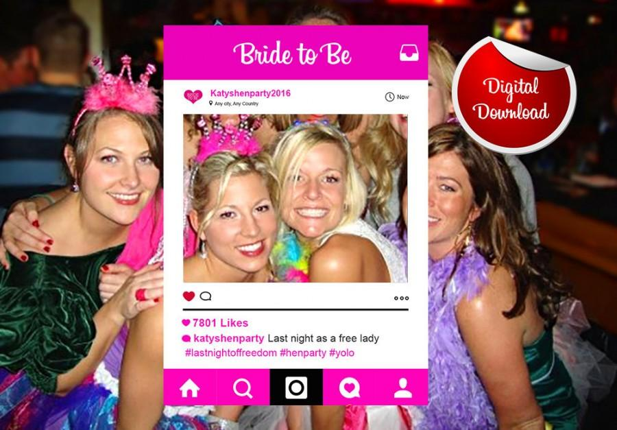 Hen Party Instagram Custom Design Photo Frame Prop, Bachelorette ...