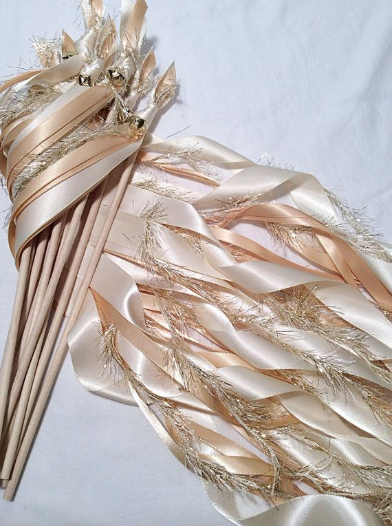 Свадьба - 75 Wedding Ribbon Wands Ivory And Toffee With Metallic Gold Frayed Ribbon And Bell Send Off Ribbon