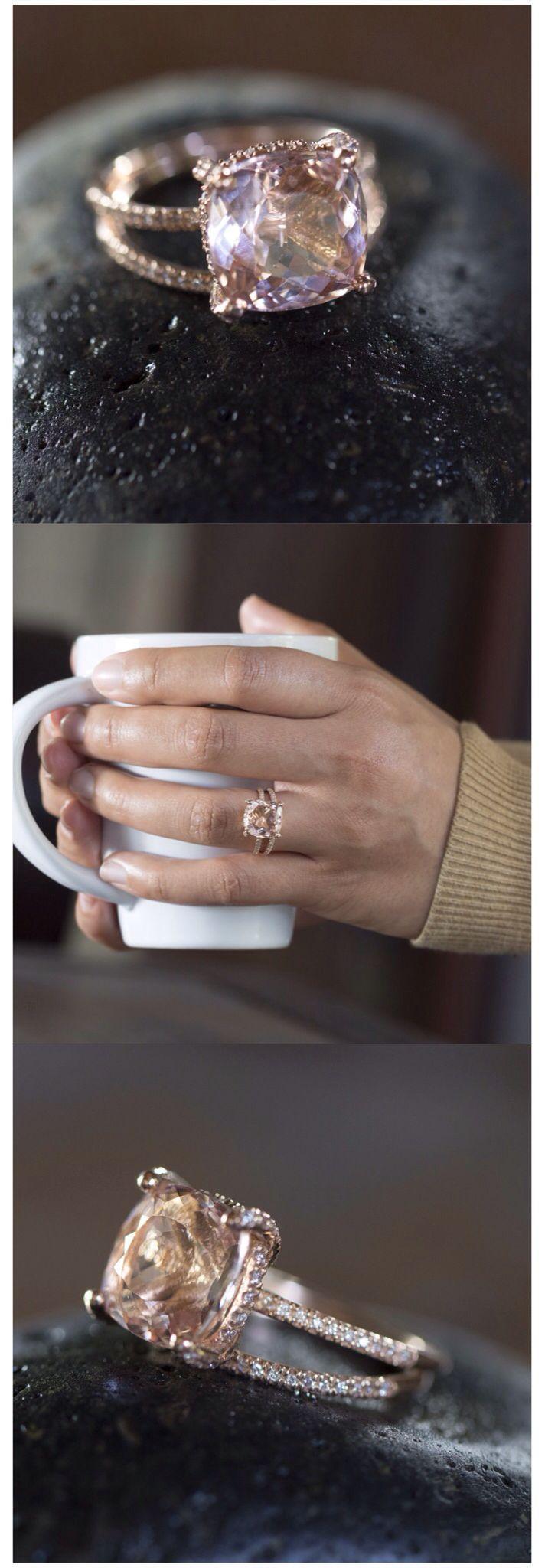 Свадьба - Morganite Engagement Ring, Cushion Cut Morganite Ring, Cushion Cut Morganite Engagement Ring, Diamond Halo Ring, Rose Gold, 14k - LS3770