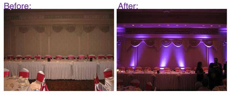 Wedding - before and after uplighting