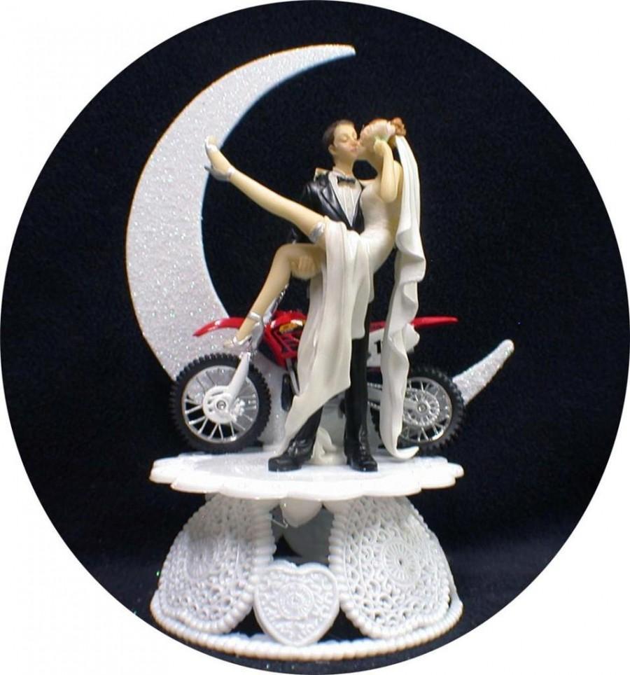 Mariage - SEXY Off Road Dirt Bike Motorcycle wedding Cake topper Honda racing Moonlight