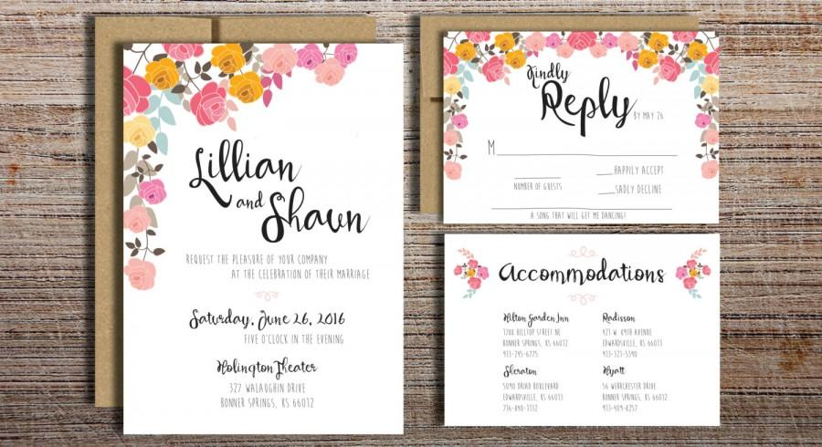 Pink Flowers Wedding Invitation Suite Printable Wedding Invitation