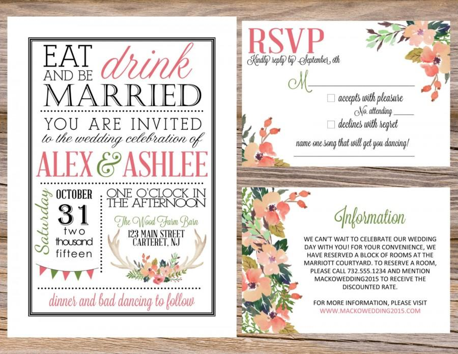 Watercolor Antler State Fair County Rustic Wedding Invitation Suite DIY  Printable RSVP Eat Drink U0026 Be Married Floral Deer Country Chic