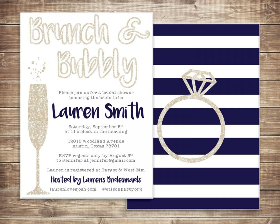 navy brunch and bubbly bridal shower invitation printable file
