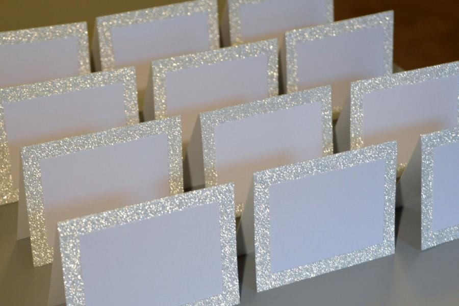 Wedding - Blank Silver Glitter Double Layer Tented Place Cards - 3 x 4