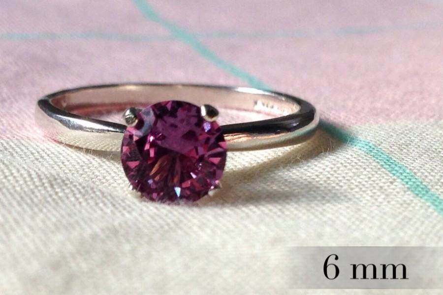 Свадьба - 6mm Alexandrite Ring, Color Change Alexandrite Engagement Ring, Sterling Promise Ring, Silver Wedding Ring