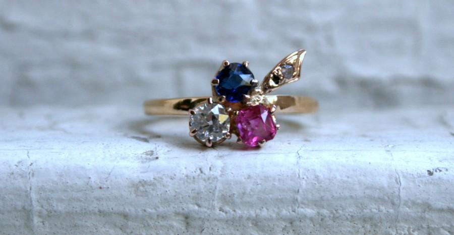 Свадьба - Victorian Leafy Antique Pink and Blue Sapphire, and Diamond Ring Engagement Ring in 18K Yellow Gold.