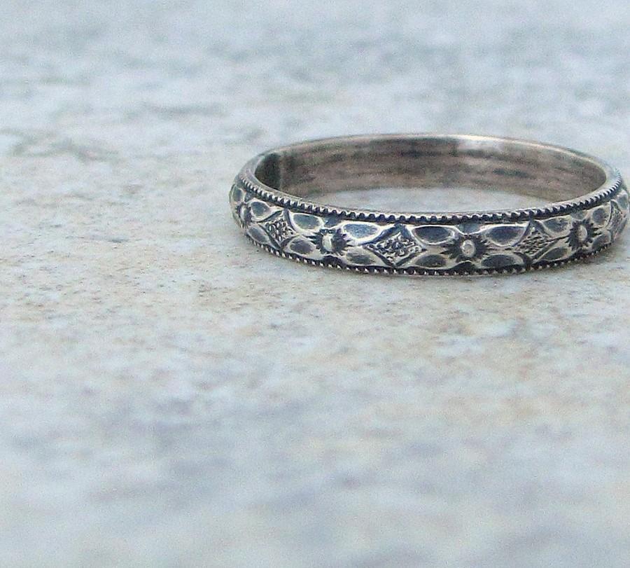 Floral Silver Ring Womens Wedding Band Wedding Ring Thin Wedding Band Antique Wedding Ring