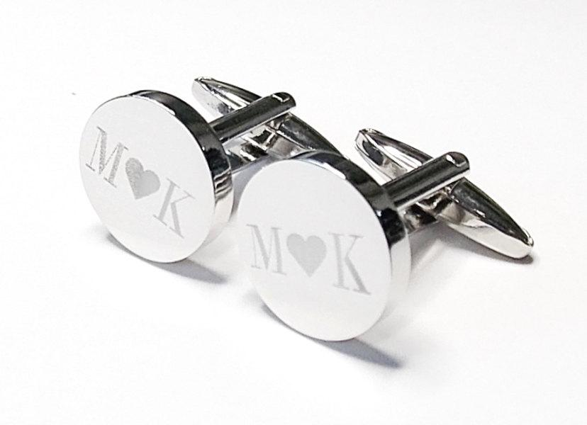 Wedding - Silver Name Round Engraved, Wedding Cufflinks, Personalised Cufflinks, Initial Heart Initial, groom cufflinks, best man, Custom Cufflinks