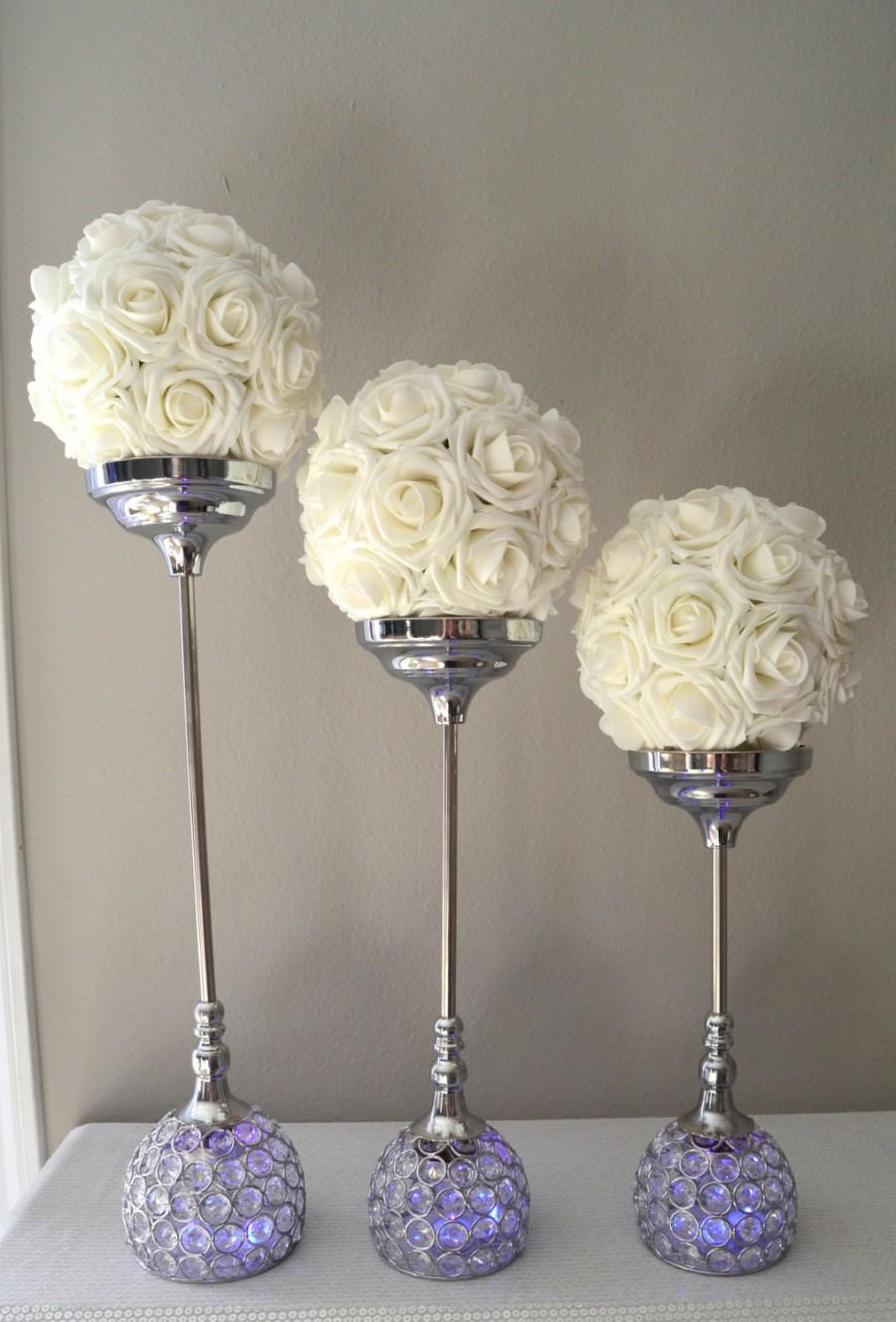 Crystal Candle Holder SET OF 3 Silver Bling Rhinestone Flower Ball Stands  Wedding Centerpiece Goblet