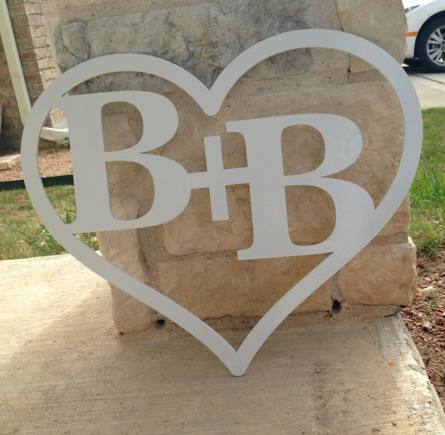 Couple Monogram Two Letter Monogram Heart Frame Wooden Monogram