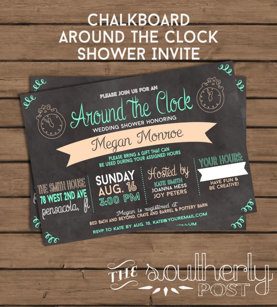 d24592d68225 Around The Clock Shower Invitation - Chalkboard - Custom