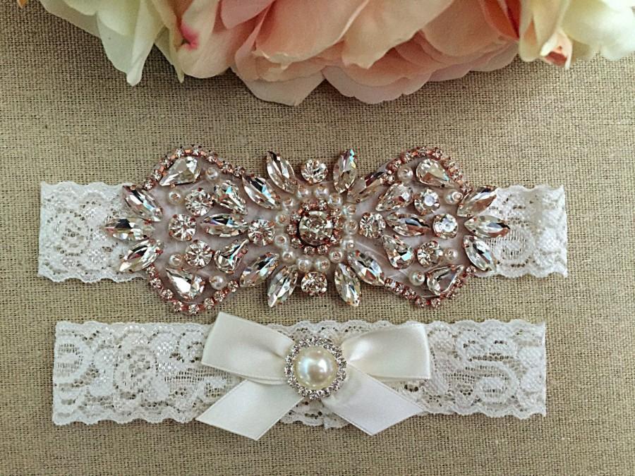 Mariage - Rose Gold Wedding Garter Set - Bridal Garter - Rhinestone Garter- Rose Gold Pearl and Rhinestone Garter and Toss Garter Set on Ivory Lace