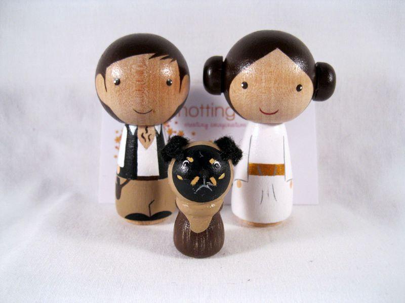 Свадьба - Kokeshi Princess Leia Han Solo Ewok Dog Peg Doll collectable