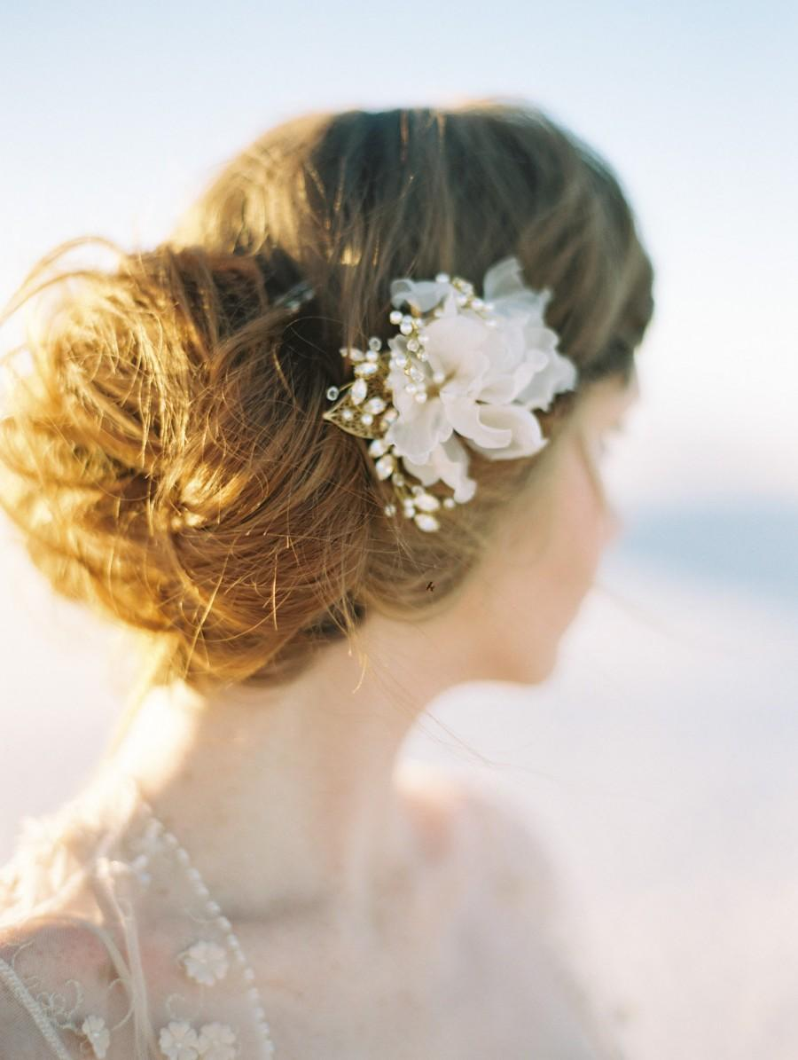 Bridal Hair Comb Pearl Hair Comb Wedding Hair Comb Silk Flower