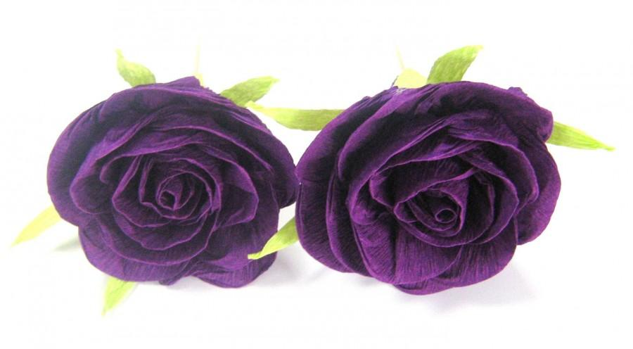Hochzeit - 10 purple crepe paper roses with a toothpick Cupcake Topper  purple baby shower idea WEDDING CENTERPIECE DIY Wedding boutonniere corsage