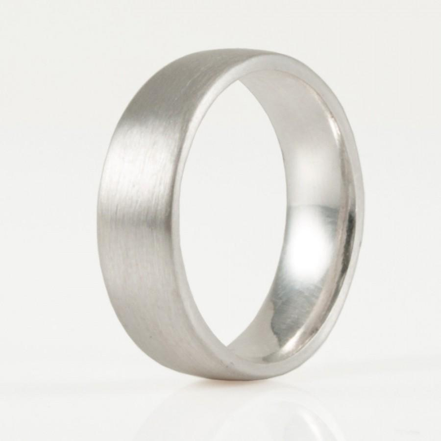men's silver wedding band comfort fit , hand forged 6 mm x 2 mm