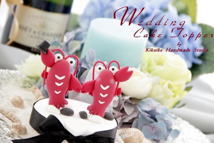 Свадьба - LOVE ANGELS Wedding Cake Topper-love lobster---k608