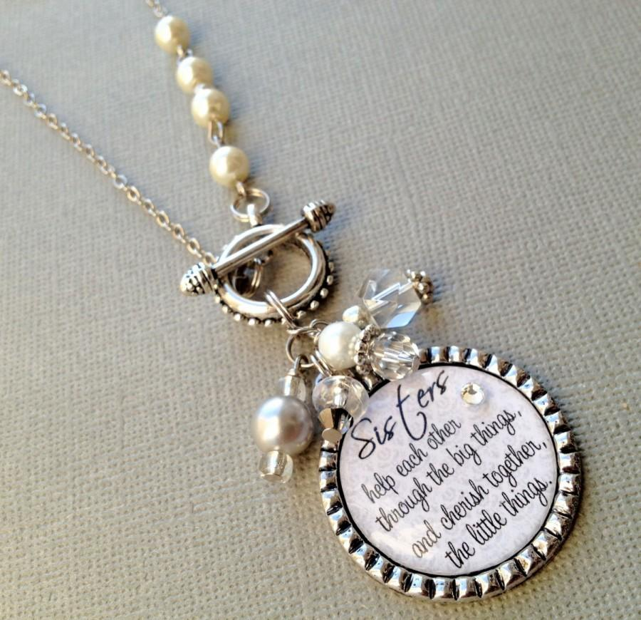 SISTER Gift PERSONALIZED Necklace Wedding Quote Birthday Maid Of Honor Rhinestone Heart Thank You