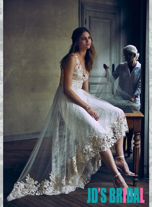 Mariage - JOL331 Romantic high low hemline lace boho beach wedding dress
