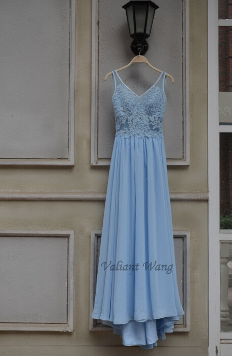 زفاف - Backless Blue Lace Long Chiffon Prom Dress Beach Wedding Dress