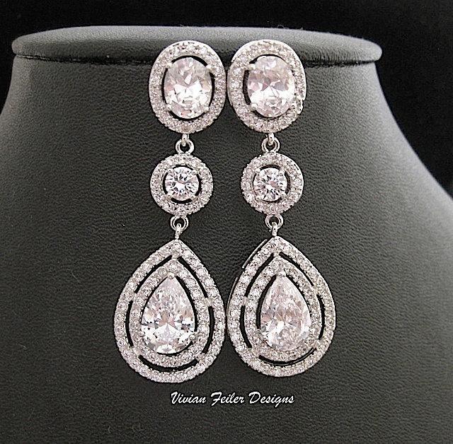 Wedding - Wedding Earrings Tear Drop Cubic Zirconia Prom Pageant Jewelry Bridal Wedding Jewelry Glamorous Bling