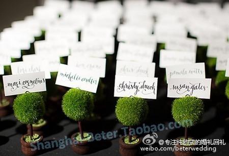 Mariage - 婚禮餐桌佈置 婚慶用品 綠色小盆栽席位卡夹BETER-ZH017/A歐式結婚小物