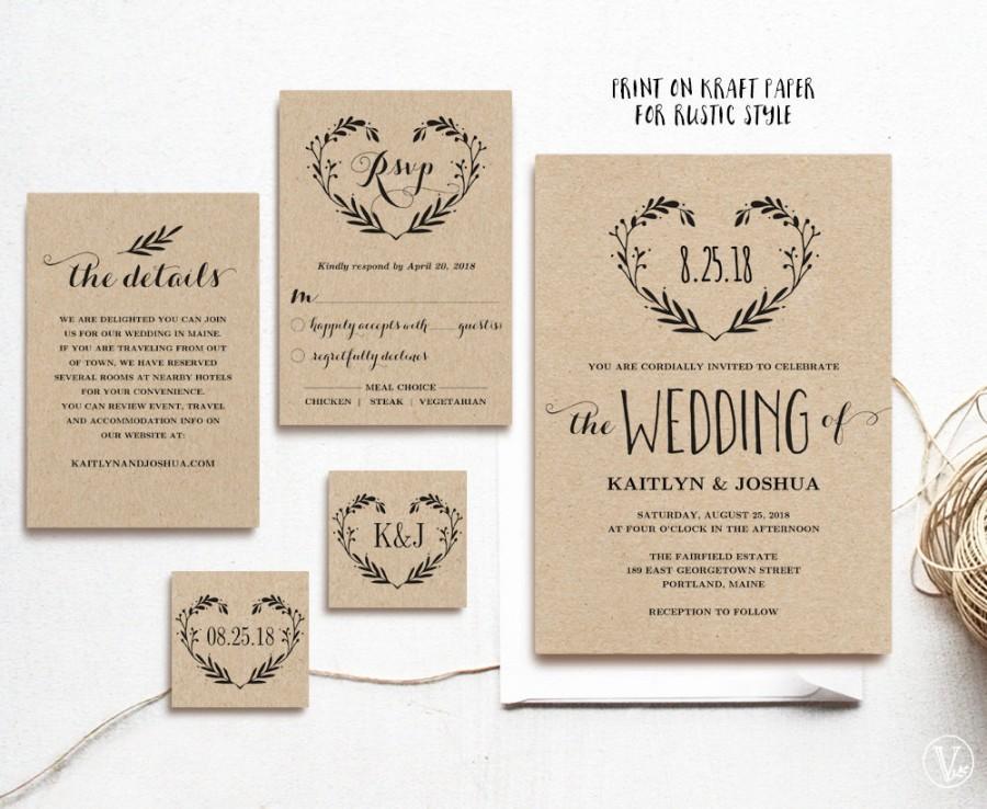 Rustic Wedding Invitation Template, Printable Invitations, Kraft ...