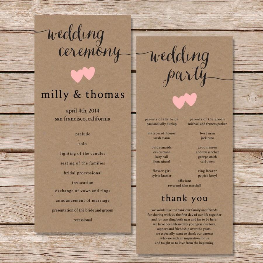 Printable Wedding Program Rustic Digital File