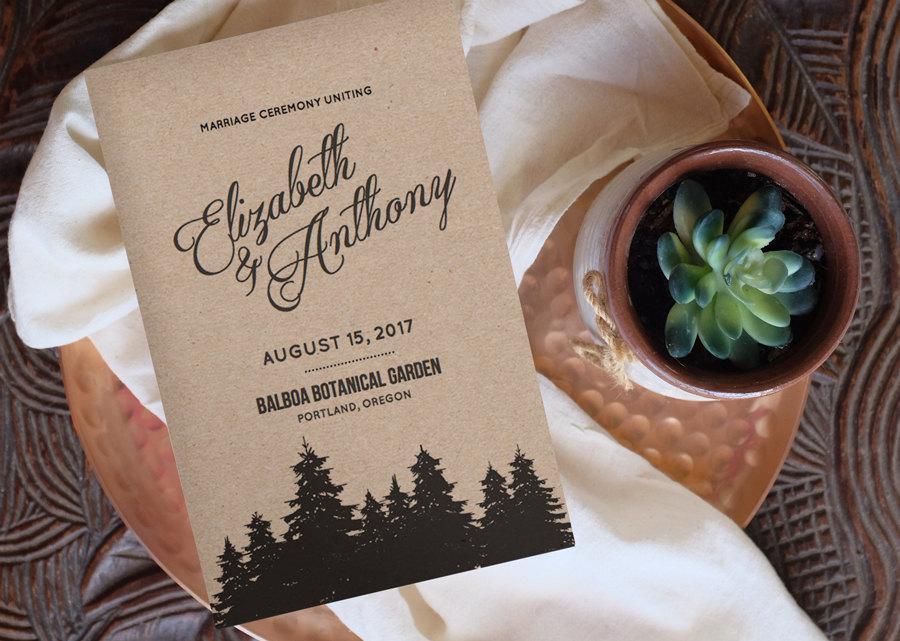 Düğün - Printable Wedding Program Template - CAMBRIA - Change colors!