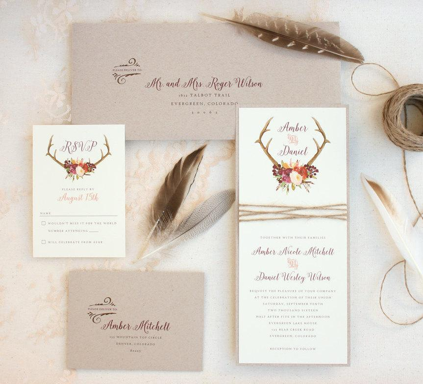 Rustic Antler Wedding Invitation Suite With Twine Wrap Marsala