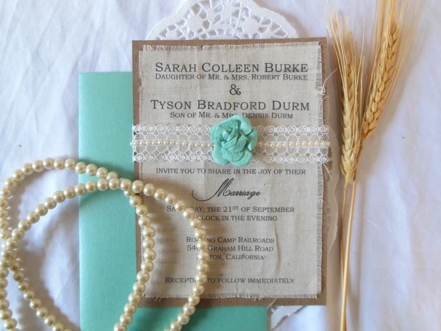 Rustic Burlap Fabric Wedding Pearl Lace Tiffany Blue