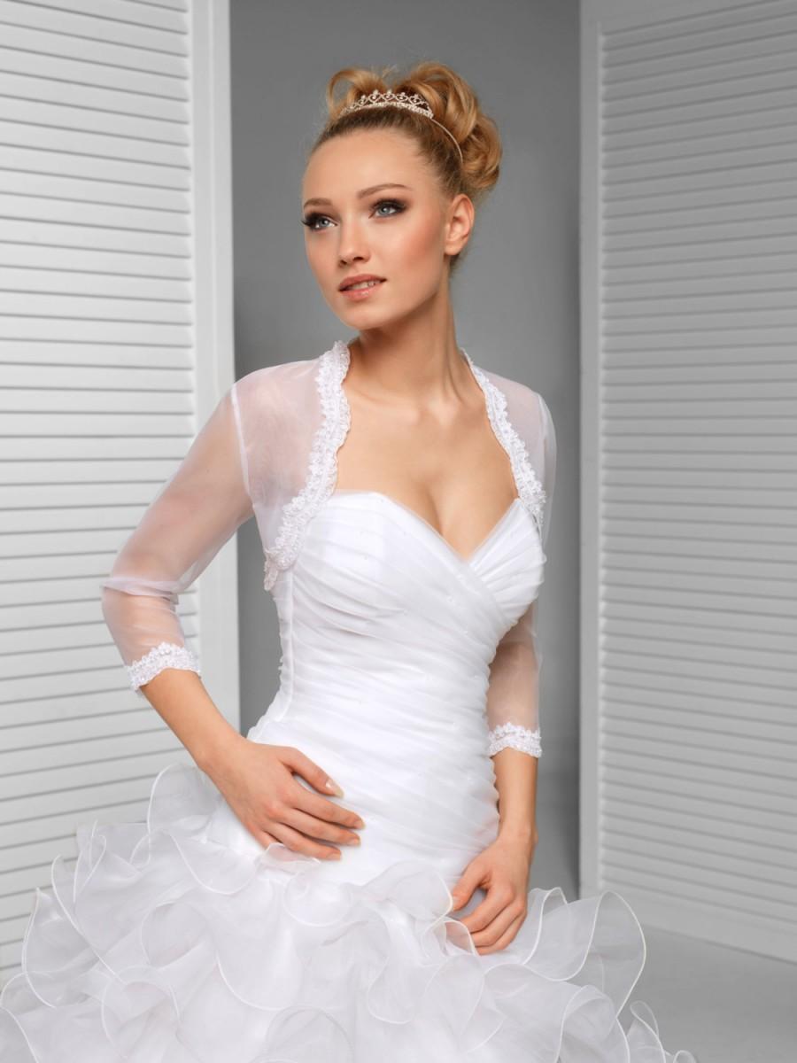 Свадьба - 3/4 sleeve Bridal Bolero Wedding Shrug