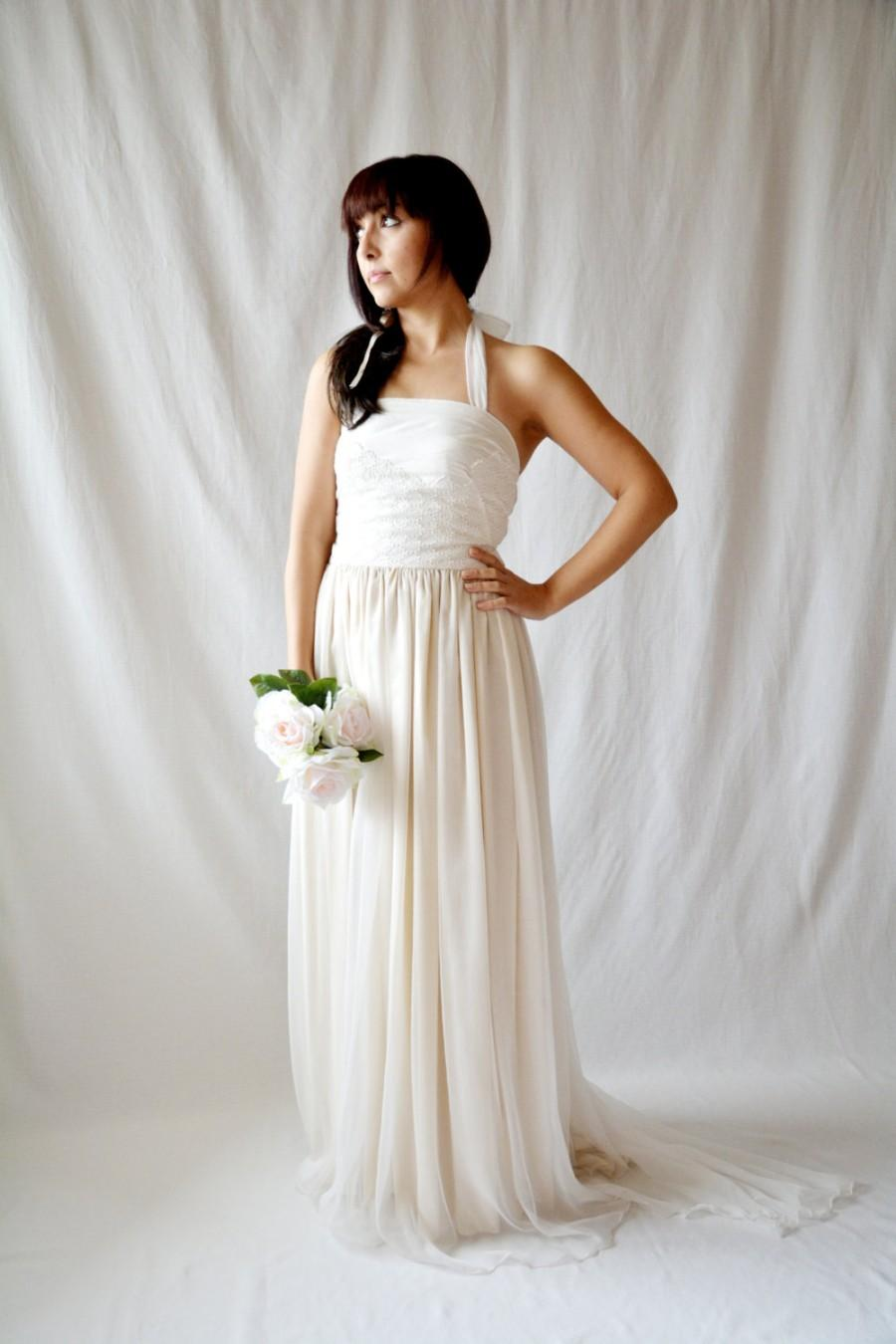 Свадьба - Rustic wedding dress, Silk wedding dress, Boho wedding dress, natural wedding dress, beach wedding dress, bridal gown, organic wedding dress