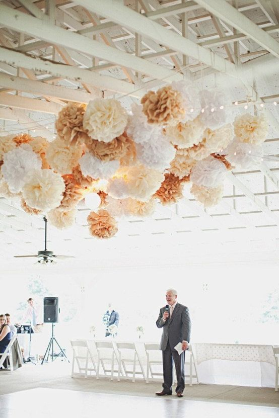 Wedding Decor Rustic Decorations Tissue Paper Poms Shabby Chic Neutrals Custom Colors Reception Party Dancefloor Tent Marquee